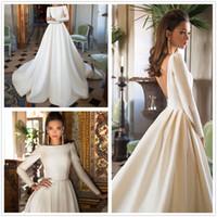 Wholesale nova summer t shirt resale online - 2018 Milla Nova Scoop Neck Long Sleeves Satin A Line Wedding Dresses Low Back Vestios De Novia Wedding Bridal Gowns With Buttons