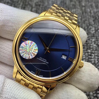 Wholesale stainles steel online - Hot Luxury Brand New Gold VILLE Blue Dial Gold Bezel Dial Swiss Automatic Mechanical Mens Sport Watch Stainles Steel Strap