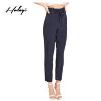 calzoncillos de mujer al por mayor-Hodoyi 2017 Pantalones de verano para mujer Streetwear Solid Navy Tie Cintura Slim Pantalones de cintura alta Elegante Casual Mujer Pantalones cortos básicos
