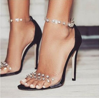 Wholesale transparent rivet high heels - Women Transparent Rivet Flock PVC Sandals Pump Slip On High Heels 11.5CM Sandals Lady Sexy Shoes