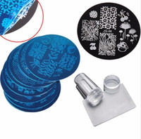tırnak için pul plakaları toptan satış-10 Adet Tırnak Tabaklar + Temizle Jelly ile Silikon Nail Art Stamper Kazıyıcı Cap Damgalama Şablon Görüntü Tabaklar Tırnak Damga Plaka Aracı