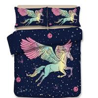 королева размер кровати бесплатная доставка оптовых-Free shipping! New cartoon aniaml pegasus horse unicorn bedding without the filler 3/4pcs home textile twin full queen size
