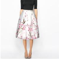 печать сливы оптовых-2018 лето 3D Plum blossom печатных женщин юбка белый пачка юбка женский хип-хоп высокой талией зонтик юбка для женщины