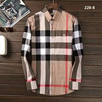 marka uzun kollu gömlek erkek çizgili toptan satış-Yeni Sonbahar Moda Marka erkek Iş Slim Fit Erkekler Giydirin Ekose Pamuk Uzun Kollu Casual Gömlek Medusa Erkek Şerit Sosyal Gömlek # 1233