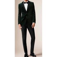 mann anzug maßgeschneidert großhandel-Mens Velvet Blazer Anzüge 2017 Custom Made Slim Fit Dunkelgrün Samt Jacke Männer Tailored Blazers Anzug kostüm homme