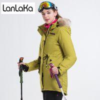 chaqueta impermeable amarilla al por mayor-LANLAKA A estrenar Chaqueta de esquí de invierno para mujer Chaqueta impermeable de esquí Chaquetas de snowboard de alta calidad Chaqueta de esquí amarillo oscuro para mujer