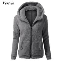 Wholesale xxl women wool coats - Wholesale-Vertvie Women Running Hooded Jacket Lamb Fleece Thick Zipper Sweatshirt Female Autumn Winter Fitness Hiking Camping Coat