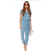 2017 Herbst Mode V-ausschnitt Denim Overalls Frauen Jumpsuit Sexy Bodysuit Kurzarm  Frauen Jeans lange Weibliche LF1016 067a7d81a1