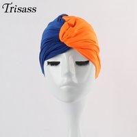 komik mayo toptan satış-Renkli Yüzme Kap Kontrast Renk Plise Şapka Düğüm komik Kapaklar Yüzme Havuzu Bir Boyut Sarılmış Kafa Bez Mayo Kadın Kızlar