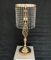 masa için vazolar toptan satış-70 cm Rhinestone Şamdan Düğün Zarif Mumluk Pretty Masa Merkezinde Vazo Kristal Şamdan Düğün Dekorasyon Standı