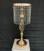 decorações de mesa de vasos venda por atacado-70 cm Strass Candelabros Festa de Casamento Elegante Castiçal Mesa Bonita Peça Central Vaso Suporte De Cristal Castiçal Decoração Do Casamento