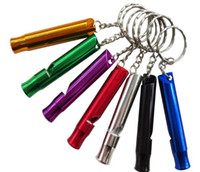 Wholesale 1000 pcs lot Outdoor Safety Survival Emergency Whistle Key Chain Aluminum Alloy Metal for hiking Camping SN1192
