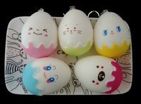 Wholesale Egg Squishy - 8 CM Cute Strawberries Egg Mobile Phone Straps Squishy Toys Slow Rising Cute Smiling Face Kid Toy Key Chain Easter Egg Toy For Gift
