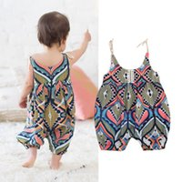 Wholesale newborn jumpsuits - Geometric Boho Haren Romper Newborn Infant Baby Girls Sleeveless Jumpsuit Sunsuit Bodysuit Comfy Retro Kid Clothing Summer Boutique 3-18M