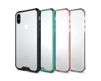 Wholesale Transparent Plastic Handbags - Shockproof Clear Acrylic + TPU Case Slim Armor Transparent Cover for iPhone X 7 8 6 6S Plus Samsung Galaxy S7 edge S8 S9