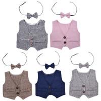 chaleco de fotos para niños al por mayor-Recién nacido bebé niños chaleco corbata de moño conjunto traje de fotografía de fotografía de equipos de apoyo