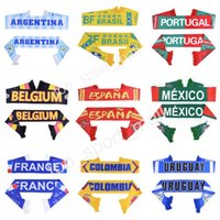 Wholesale mexico gifts - 2018 World Cup Football Scarf Brazil Brasil Argentina Portugal Belgium Spain Mexico France Colombia Soccer Scarves National Team Fans Gift