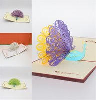 Wholesale valentine postcards - Creative Greeting Cards 3D Peacock Blessings Postcard Valentine Day Wedding Inviting Card Multi Color Decorations5 5zy C R