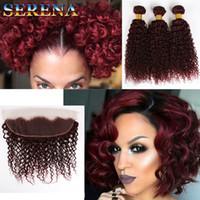 Wholesale braiding hair 99j resale online - Burgundy j Hair Curly Weave Crochet Hair Extension Water Wave Bulk Hairs With Frontal Crochet Braids Brazilian Hair Bundles With Closure