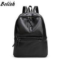 Wholesale leather backpack satchel korean - Bolish New Travel Backpack Korean Women Female Rucksack Leisure Student School bag Soft PU Leather Women Bag