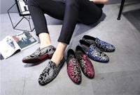 Wholesale Party France Dress - 2018 Hot Style France Brand fashion Velvet mens loafers embroidery handmade men velvet shoes Slip on party wedding men's flats N77