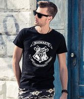 ingrosso maglietta felpata-Maglietta degli uomini di vendita calda harry potter hogwarts stampa camicie design unico harry potter costume freddo magico scuola hogwarts t-shirt