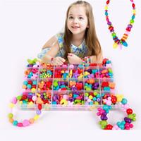 fazer brinquedos educativos venda por atacado-Brinquedos da moda Para A Menina Brinquedo Colorido DIY Pulseira Brinquedos Fazer Jóias Crianças Hama Beads Set Educacional 3D Puzzle Beads Brinquedos de Puzzle
