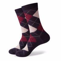 Wholesale brand men cotton business socks for sale - Group buy Match Up Men Colorful Argyle Cotton Crew Socks Brand Business Socks Designer Sock Pairs New