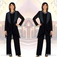 dreiteiliger eleganter hosenanzug großhandel-Elegante Chiffon- Mutter der Braut-Hosen-Klagen mit Jacke drei Stücke mit Rüschen besetzt Brauthochzeits-Gast-Partei kleidet die Kleider der Mutter BA7747