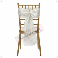 Wholesale ivory polyester banquet chair covers resale online - Nice Looking Ivory Pintuck Taffeta chair bands Banquet chair sashes for chair cover Hotel decorations Colorful