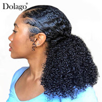3B 3C Kinky Curly Ponytails Extensions One Piece Mongolian Clip In Human Hair Extension Ponytails Natural Color Dolago Remy