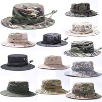 Wholesale red rounded hat online - 17 Styles Camouflage Round Hat Military Tactical Outdoor Cap For Camping Fishing Fisherman Hat Support FBA Drop Shipping G702F