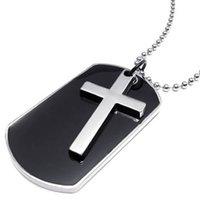 cadena de perros del ejército al por mayor-Gargantilla para hombre estilo ejército etiqueta cruz colgante, color negro plata, cadena de 27 pulgadas