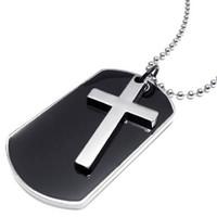 chaîne de chien de l'armée achat en gros de-Style de l'armée collier pendentif croix tag homme, couleur argent noir, chaîne de 27 pouces