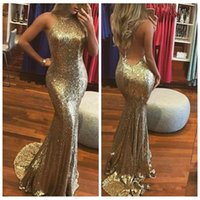 Wholesale mermaid prom dresses online - 2019 Sexy Bling Bling Gold Sequined Prom Dresses Backless Mermaid Party Gowns Custom Online Cheap Evening Dress Halter vestidos de fiesta