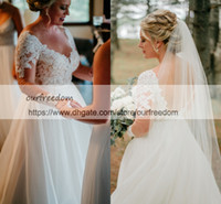 Wholesale Wedding Dresses For Outdoors - 2018 Spring Chic Lace Long Sleeve Wedding Dresses Appliques A Line Tulle Plus Size Backless V Neck Bridal Gown For Garden Outdoor Style