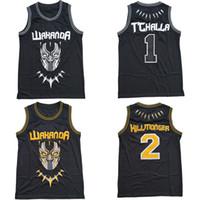 siyah adam kostümü toptan satış-SIYAH PANTHER Erik Killmonger JERSEY WAKANDA T'CHALLA MOIVE Kostüm Basketbol Forması Moive Formalar Erkekler Siyah Hızlı Ücretsiz Denizcilikte