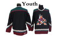 m branco venda por atacado-Juventude Phoenix Coyotes Hockey Jerseys Preto Em Branco Do Vintage Do Arizona Coyotes Retro Crianças Jerseys CCM Costurado meninos Hóquei Camisas Baratos