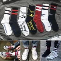 Wholesale motion basketball - Vetements Basketball Socks Red Stripe White Black Cotton Socks Skateboard Motion Hin Hop Highstreet Socks HFWPWZ001