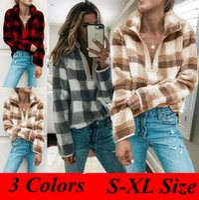 Wholesale turtleneck casual pullover resale online - Women Plaid Zipper Hoodie Colors Turtleneck Long Sleeve Sweatshirts Autumn Sherpa Pullover Casual Tops Zipper Outdoor Coat LJJO5794
