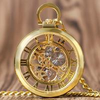 homem de relógio de mão transparente venda por atacado-Vintage Dourado Prata Bronze Vidro Transparente Único Rosto Esqueleto Mão Mecânica Vento Relógio de Bolso Homens de Luxo Mulheres Presente de Venda Quente