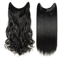 Wholesale long real human hair extensions resale online - Hair extensions Long Real Straight Curly Wire Headband Clip In Hair Extensions As Human Hair g g