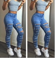 c7c3ebd0f3768 Fashion Summer Sexy Women Jeans Ripped Holes Harem Pants Jeans Slim Vintage  Street Wear Boyfriend Blue Jeans for Women S-XL