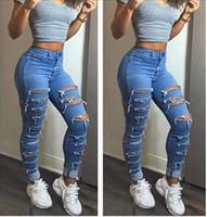 mavi harem pantolon kadınlar toptan satış-Moda Yaz Seksi Kadın Kot Yırtık Delik Harem Pantolon Kot Ince Bağbozumu Sokak Giyim Erkek Arkadaşı Mavi Kot Kadınlar için S-XL