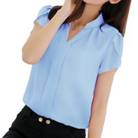 официальная одежда для женщин оптовых-Women Shirt Chiffon Blouse Femininas Tops Short Sleeve EleLadies Formal Office Blouse Plus Size 3XL Chiffon Shirt Clothing