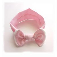 couvre-chef rose achat en gros de-Nouvelles Filles Hairband Rose Bow Mignon Boules de Fourrure Selvedge Accessoires de Cheveux Doux Enfants Bandeau Chapeaux Topknot