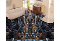 pintura da noite da vista da cidade venda por atacado-Auto-adesivo Adesivo De Parede À Prova D 'Água Do Revestimento Personalizado papel de parede 3D papel de parede pintura de piso Sonho Da Cidade Da Noite Vista 3D Adesivo de Chão