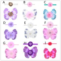 Wholesale Newborn Wings - 10 styles Newborns Baby photo photography props costumes 2pc set baby flower headband mini butterfly wings 18*14cm