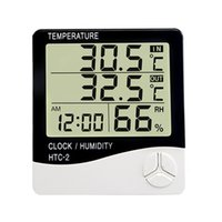 Wholesale temperature humidity monitors for sale - Group buy Digital Hygrometer Thermometer LCD Screen Humidity Temperature Monitor Indoor Outdoor Weather Station with Alarm Clock HTC