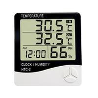 kapalı açık hava higrometresi toptan satış-Dijital Higrometre Termometre LCD Ekran Nem Sıcaklık Monitör Çalar Saat ile Kapalı Açık Hava İstasyonu HTC-2